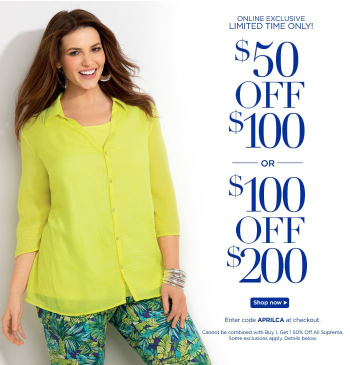 Save $50 off $100, or $100 off $200