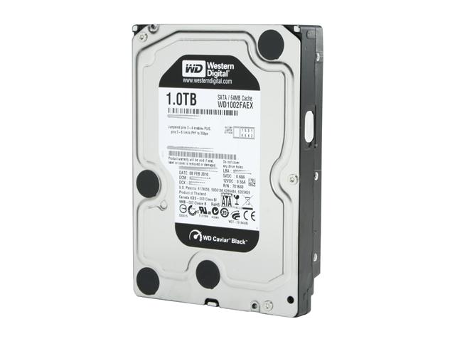Western Digital WD Black WD1002FAEX 1TB 7200 RPM 64MB Cache SATA 6.0Gb/s 3.5 inch Internal Hard Drive - Bare Drive