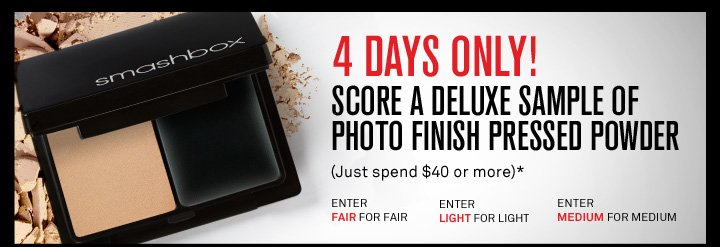 4 Days Only! Free Deluxe Sample of Photo Finish Pressed Powder