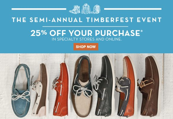 The Semi-Annual TimberFest Event. 25% off your purchase* in specialty stores and online. Shop Now