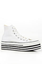 The Layer Cake Hi Platform Sneaker in White and Black