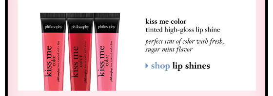 kiss me color tinted high-gloss lip shine perfect tint of color with fresh, sugar mint flavor shop lip shines