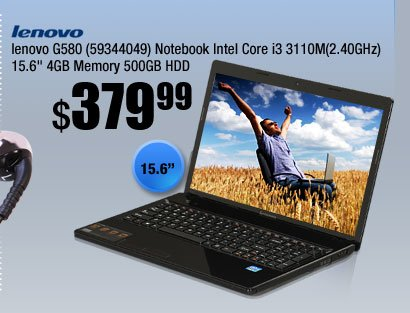 "lenovo G580 (59344049) Notebook Intel Core i3 3110M(2.40GHz) 15.6"" 4GB Memory 500GB HDD"