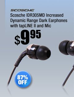 Scosche IDR305MD Increased Dynamic Range Dark Earphones with tapLINE II and Mic