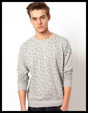 Brave Soul Bird Print Sweater