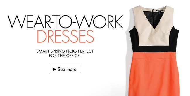 Check out stylish spring dresses perfect for the office--from Anne Klein, Evan Picone, and more.