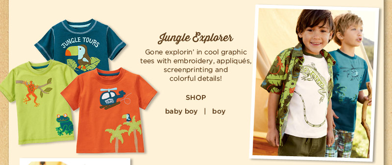 Jungle Explorer. Gone explorin' in cool graphic tees with embroidery, appliqués, screenprinting and colorful details!