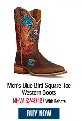 Cinch Edge Men's Blue Bird Square Toe Western Boots