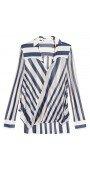 Sheer Stripe Drape Front Blouse
