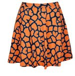 Orange Giraffe Print Skater Skirt