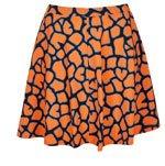 Orange Giraffe Print Skater Skirt