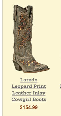Laredo Leopard Print Leather Inlay Cowgirl Boots