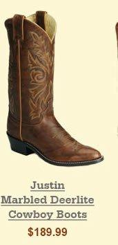 Justin Marbled Deerlite Cowboy Boots