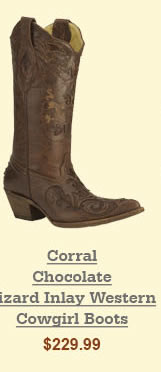 Corral Chocolate Lizard Inlay Western Cowgirl Boots