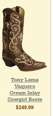 Tony Lama Vaquero Cream Inlay Cowgirl Boots