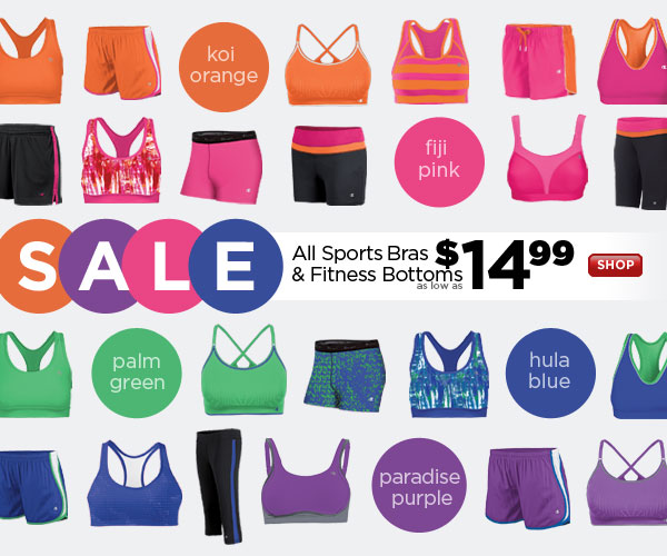 All Sports Bras & Fitness Bottoms on SALE: as low as $14.99