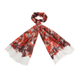 Red Collage Floral Print Scarf