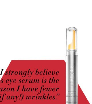 """I strongly believe this eye serum is the reason I have fewer (if any!) wrinkles."" - Christine on PREVAGE® Anti-aging Eye Serum, $100.00. SHOP NOW."