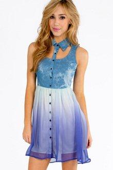 Denim Rainbow Bottom Dress $23