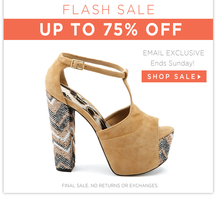 Up to 75% OFF Shoes, Dresses, and Accessories! Ends Tomorrow.