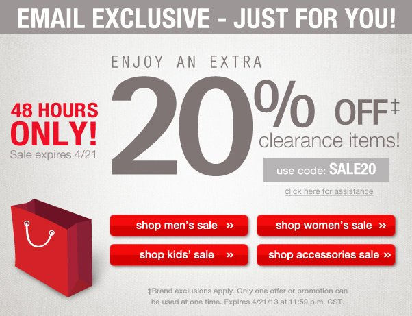 Enjoy An Extra 20% Off Sale Items!