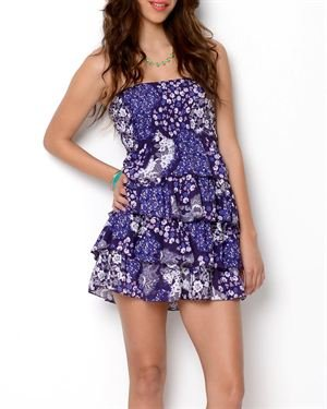 Jayny Floral Print Ruffle Tiers Strapless Dress