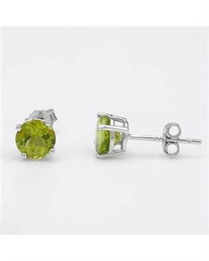 Ladies Peridot Earrings Designed In 925 Sterling Silver