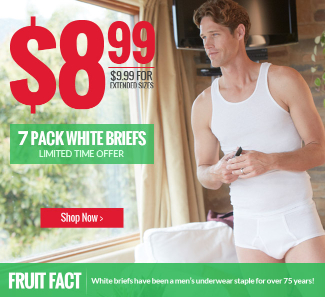 White briefs have been a men's underwear staple for over 75 years! For a limited time Fruit of the Loom 7 pack white briefs are only $8.99 (extra sizes $9.99)!