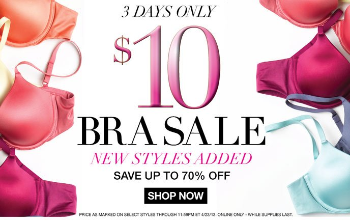 3 Days Only: $10 Bra Sale! New Styles Added - Save Up to 70% Off