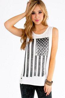 American Flag Long Tank Top $29
