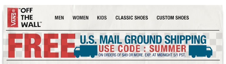 Get Free US Ground Mail Shipping with Code SUMMER at Checkout!
