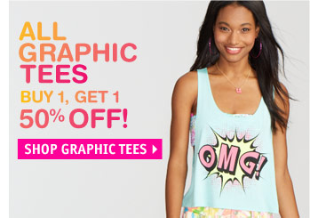 GRAPHIC TEES BUY 1, GET 1 50%  OFF!