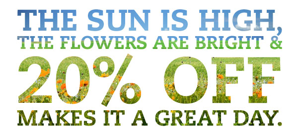 The sun is high, the flowers are bright & 20% OFF makes it a great day.