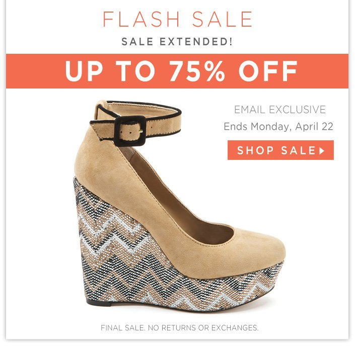 Up to 75% OFF Shoes, Dresses, and Accessories! Ends tonight at 11PM PST.