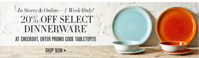 In Stores & Online – 1 Week Only! - 20% OFF SELECT DINNERWARE* At checkout, enter promo code TABLETOP20 - SHOP NOW