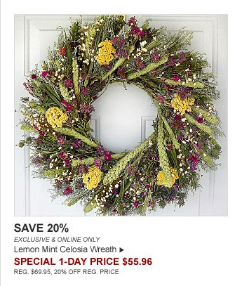 SAVE 20% - EXCLUSIVE & ONLINE ONLY - Lemon Mint Celosia Wreath - SPECIAL 1-DAY PRICE $55.96 (REG. $69.95, 20% OFF REG. PRICE)