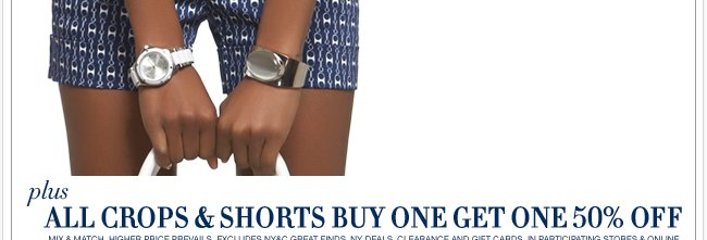 All Crops, Shorts & Jewelry are Buy One Get One 50% Off!