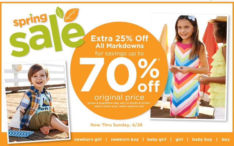 Spring Sale. Extra 25% off all markdowns for savings up to 70% off(2) original price. Prices and quantities may vary in stores & online. Select styles only. While suppplies last. Now thru Sunday, 4/28
