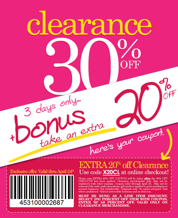 BONUS SAVINGS!!! SPECIAL COUPON FOR EVEN MORE Savings on already reduced clearance merchandise! SHOP NOW!