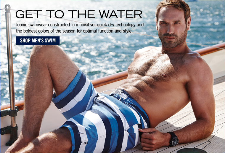 Get to the Water! Shop new men's swim.