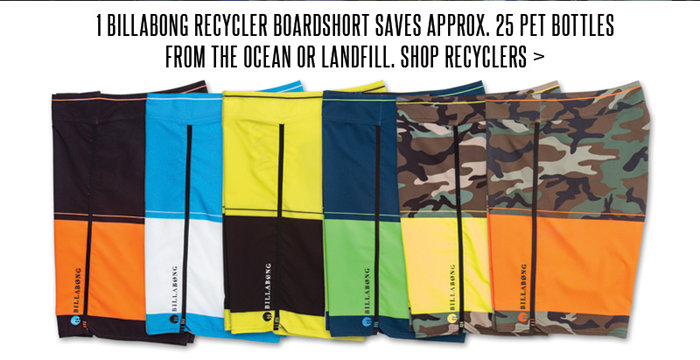 1 Billabong Recycler Boardshort Saves Approx. 25 PET Bottles From the Ocean or Landfill. Shop Recyclers