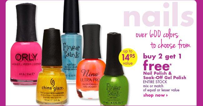 buy 2 get 1 free* Nail Polish & Soak-Off Gel Polish