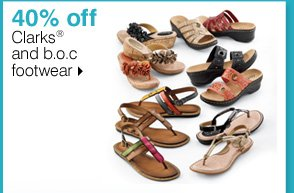 40% 0ff All Clarks® and b.o.c footwear. Shop now.