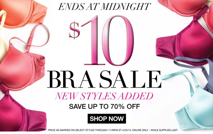 Ends at Midnight: $10 Bra Sale! New Styles Added - Save Up to 70% Off