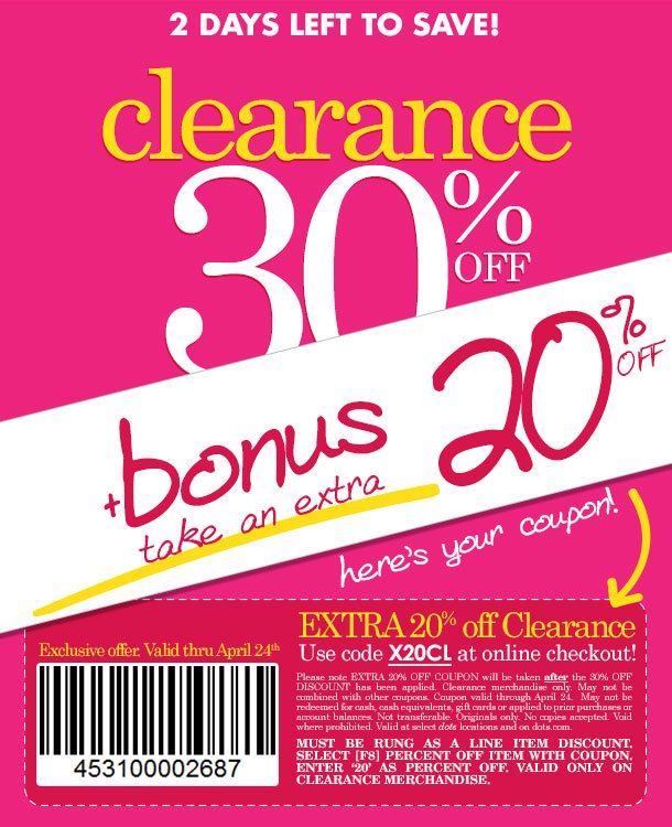 2 DAYS LEFT! BONUS DEAL!!! SPECIAL COUPON FOR EVEN MORE SAVINGS on already reduced clearance merchandise! SHOP NOW!