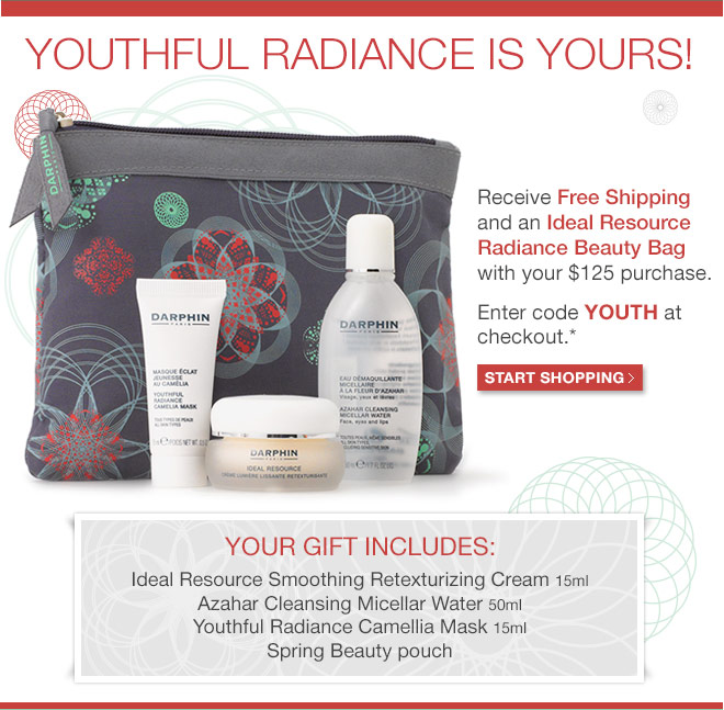 Receieve Free Shipping and an Ideal Resource Radiance Beauty Bag with you $125 purchase.
