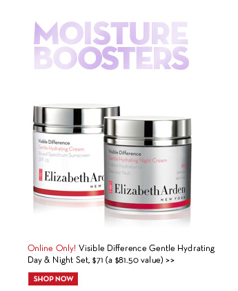 MOISTURE BOOSTERS. Online Only! Visible Difference Gentle Hydrating Day & Night Set, $71 (a $81.50 value). SHOP NOW.