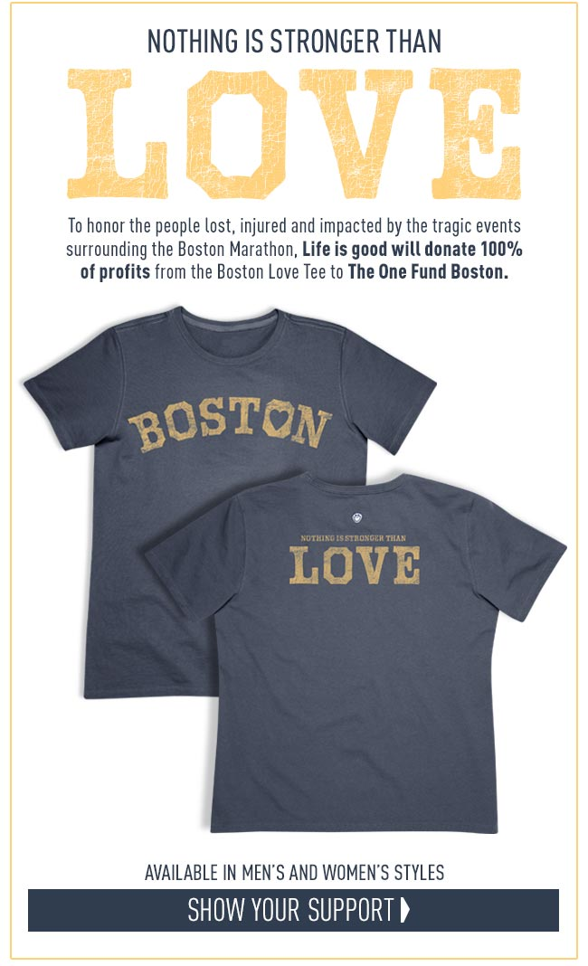 To honor and support the people lost, injured and impacted, we proudly donate 100% of all profits from the Boston Love Tee to The One Fund Boston.