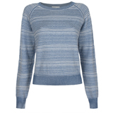 Blue And White Braided Crew Neck Jumper
