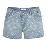 Light Wash Polka Dot Denim Shorts